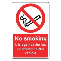 No Smoking it is against the law to smoke in this vehicle