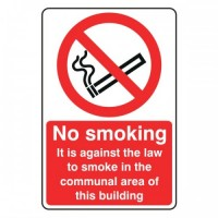 No Smoking it is against the law to smoke in the communal area of this building