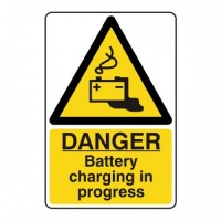 Danger battery charging in progress
