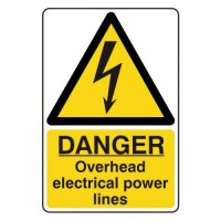 Danger overhead electrical power lines