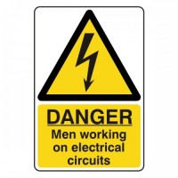 Danger men working on the electrical circuits