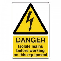 Danger isolate mains before working on this equipment