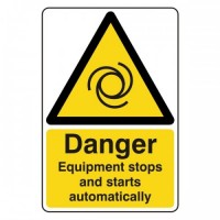 Danger Equipment starts and stops automatically