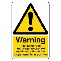 Warning It is dangerous and illegal to operate machines without the proper guards in position