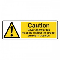 Caution Never operate this machine without the proper guards in position