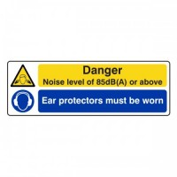 Danger noise level of 85 dB is or above Ear protectors must be worn