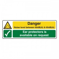 Danger noise level between 80 dB and 85 dB Ear protectors is available on request