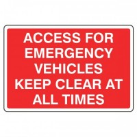 Access for emergency vehicles Keep clear at all times
