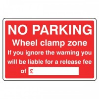 No Parking wheel clamp zone with writing area