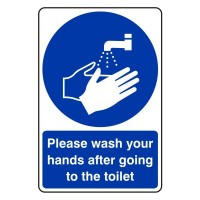 Please wash your hands after going to the toilet