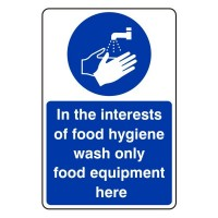 In the interest of food hygiene wash only food equipment here