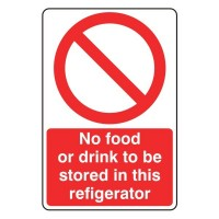 No food or drink to be stored in this refrigerator