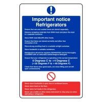 Important notice Refrigerators