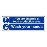 You are entering a production area Wash Your Hands
