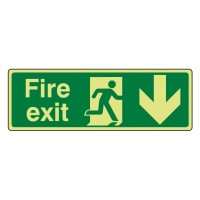 Photo luminescent Plastic Fire exit Arrow down