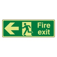 Photo luminescent Plastic Fire exit Arrow left