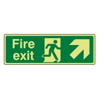 Photo luminescent Plastic Fire exit Arrow up right