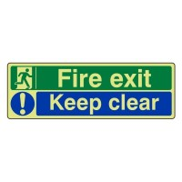 Photo luminescent Plastic Fire exit keep clear
