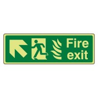 Photo luminescent Plastic Fire exit Arrow up left