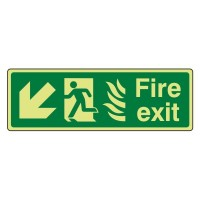 Photo luminescent Plastic Fire exit Arrow down left