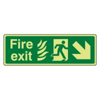 Photo luminescent Plastic Fire exit Arrow down right