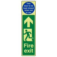 Fire exit Arrow up (This door to be kept closed when not in use)