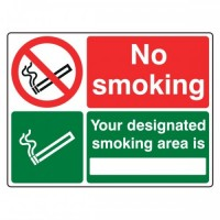 No Smoking Your designated smoking area is (with writing space)