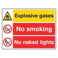Explosive gases / No Smoking / No Naked Lights