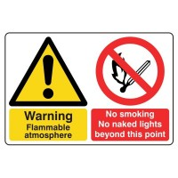 Warning Flammable Atmosphere / No Smoking No naked lights beyond this point