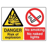 Danger Risk of explosion / No smoking No naked lights