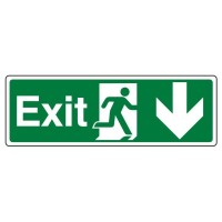 Exit, Arrow down, running man