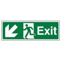 Exit Arrow down left, running man