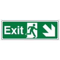 Exit Arrow down right, running man