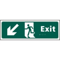 Exit Arrow down left, running man