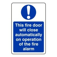 This fire door will close automatically on the operation of the fire alarm