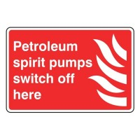 Petroleum spirit pumps switch off here