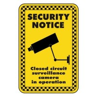 security notice closed circuit surveillance camera in operation