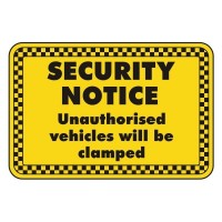Security Notice Unauthorised vehicles will be clamped
