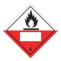Spontaneously Combustible 4 UN Substance Numbering Sticker