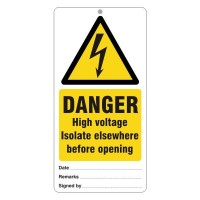 Danger High voltage Isolate elswhere before opening