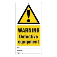 Warning Defective equipment