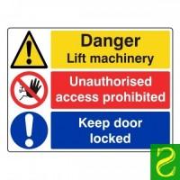 Danger lift machinery, Unauthorised access prohibited, Keep door locked