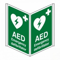 AED Emergency defibrillator D/S Projecting sign