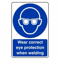 Wear correct eye protection when welding