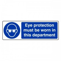 Eye protection must be worn in this department