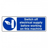Switch off electricity supply before working on this machine