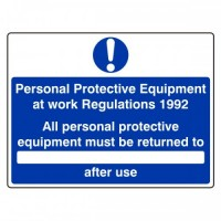All personal protective equipment must be returned to (writing area) after use