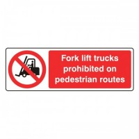 Forklift trucks prohibited on pedestrian routes