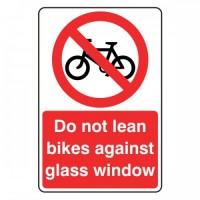 Do not lean bikes against glass window